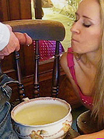 Naughty little Tinkerbell loves it when her master take charge, and makes her drink his dirty yellow pee